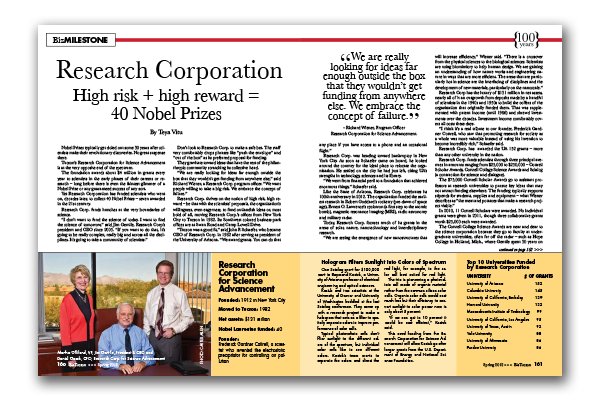 Photo of Research Corporation  High risk + high reward = 40 Nobel Prizes