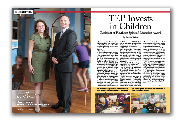 Photo of TEP Invests in Children – Recipient of Raytheon Spirit of Education Award