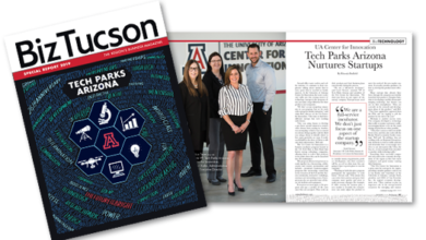 Photo of Tech Parks Arizona's 25th Year Special Report in BizTucson Magazine Wins Silver Award